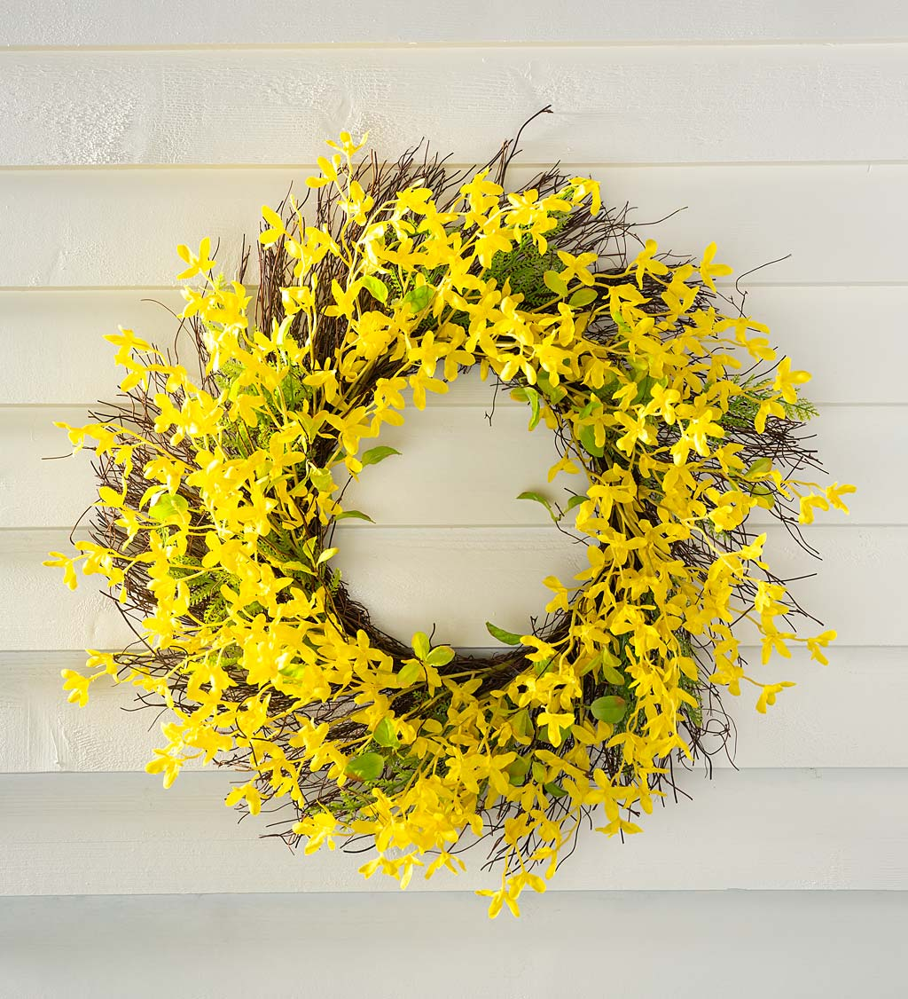 Faux Forsythia Wreath on Rattan Base