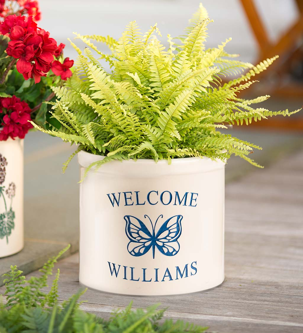 Personalized Stoneware Welcome Crock with Butterfly
