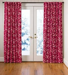 Floral Damask Rod-Pocket Homespun Insulated Curtain Panel