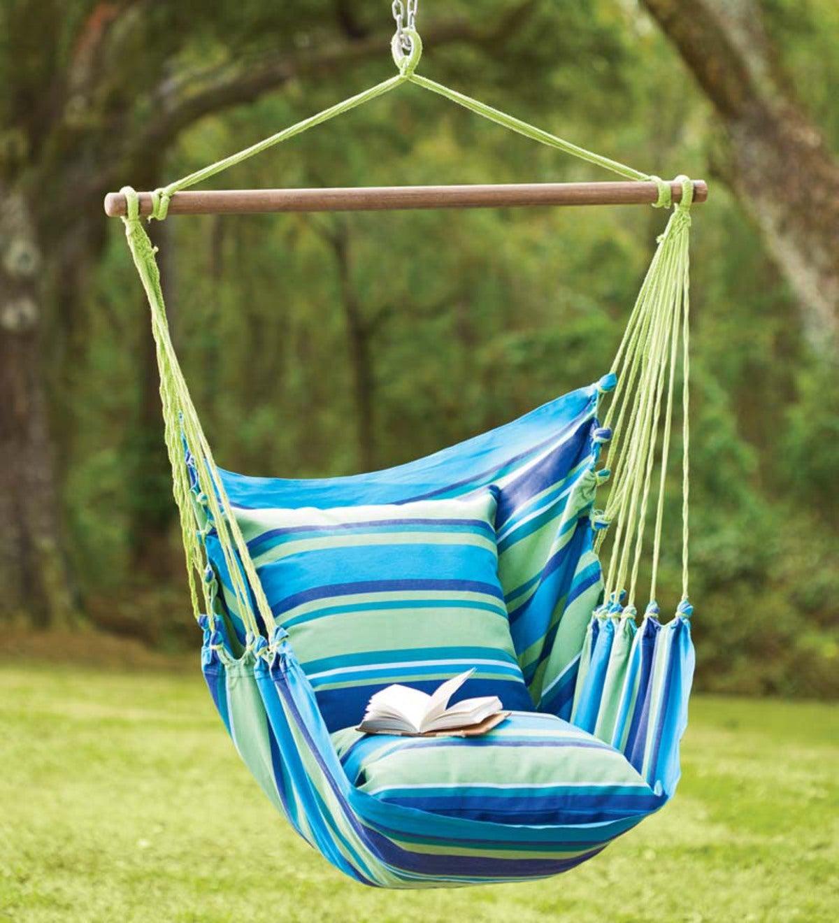 Blue Striped Cotton Hammock Chair Swing Plowhearth
