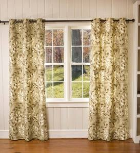 "Leaves Grommet-Top Curtains, 95""L"