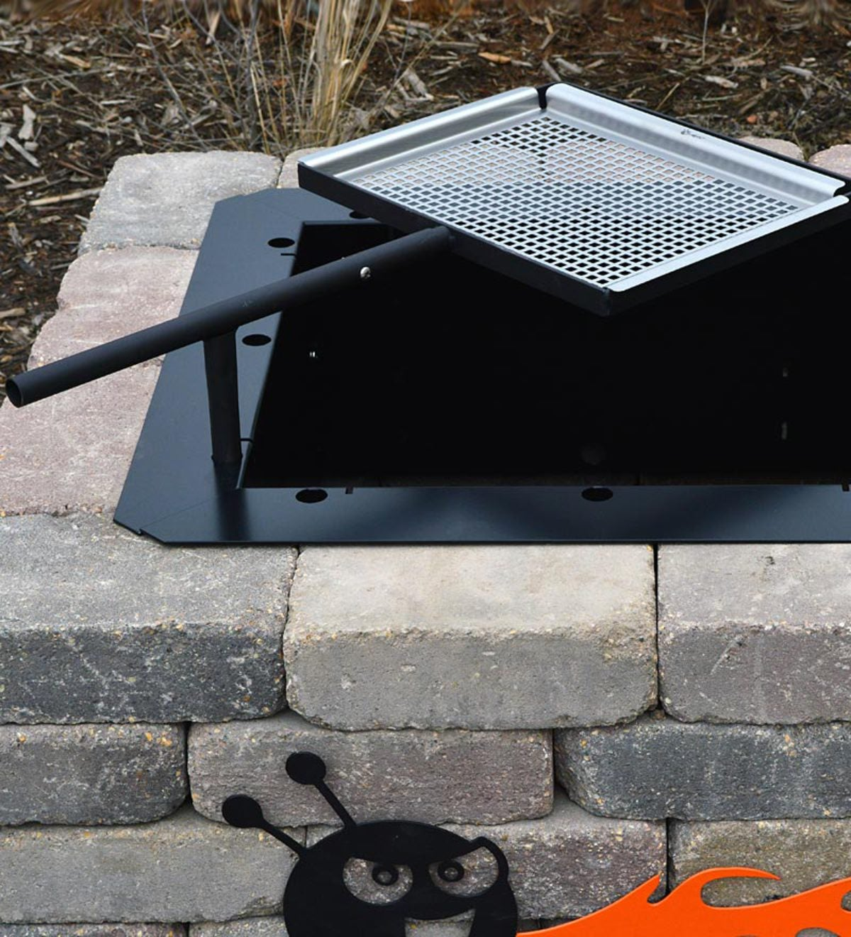 31-Inch Stainless Fire Pit Steel Swivel Grill | PlowHearth