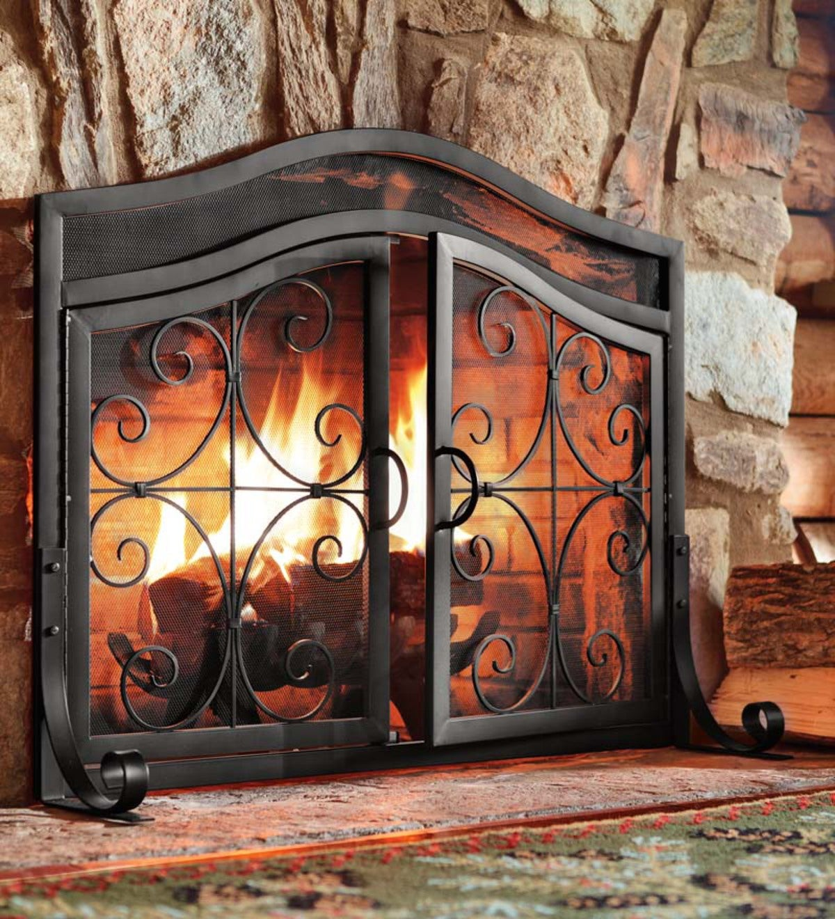Small Crest Fireplace Screen With Doors Flat Guards Hearth