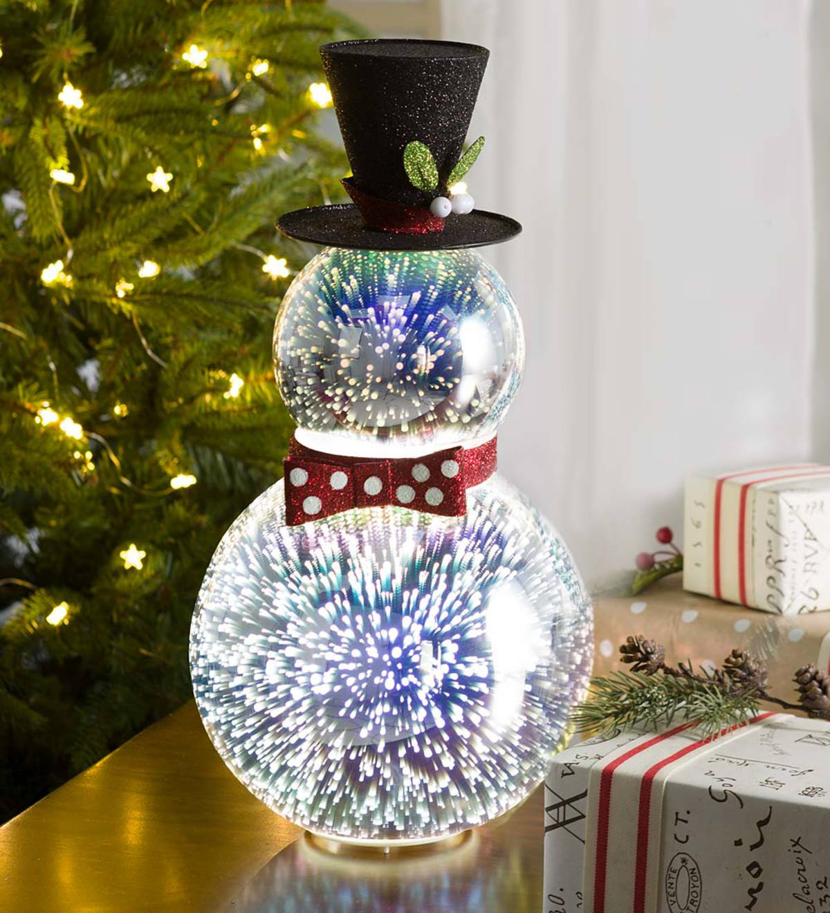 Indoor Christmas Party Decorations: Glass Snowman With 3D Light Effects, Short