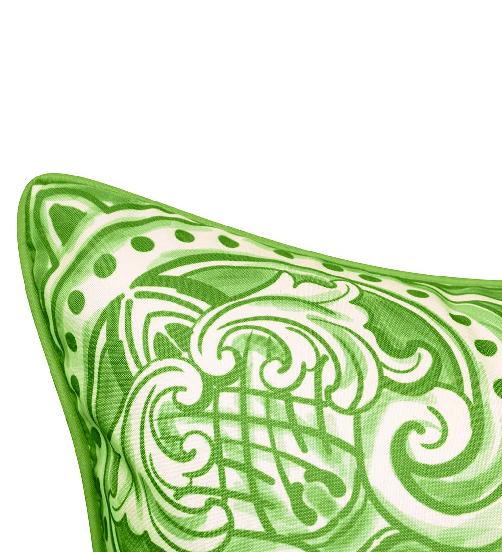 Indoor/Outdoor Block-Style Printed Tile Throw Pillow