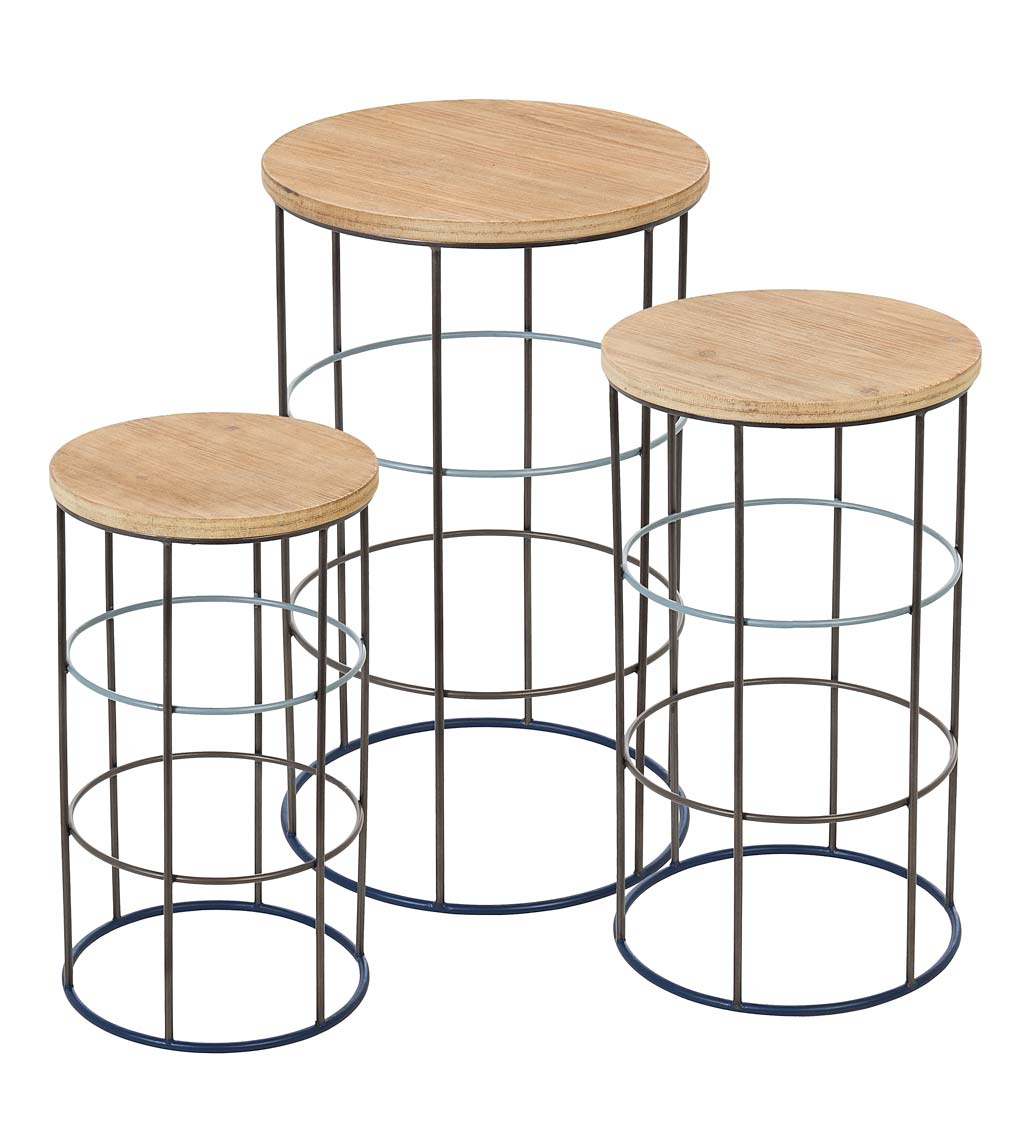 Metal and Wood Round Nesting Side Tables, Set of 3