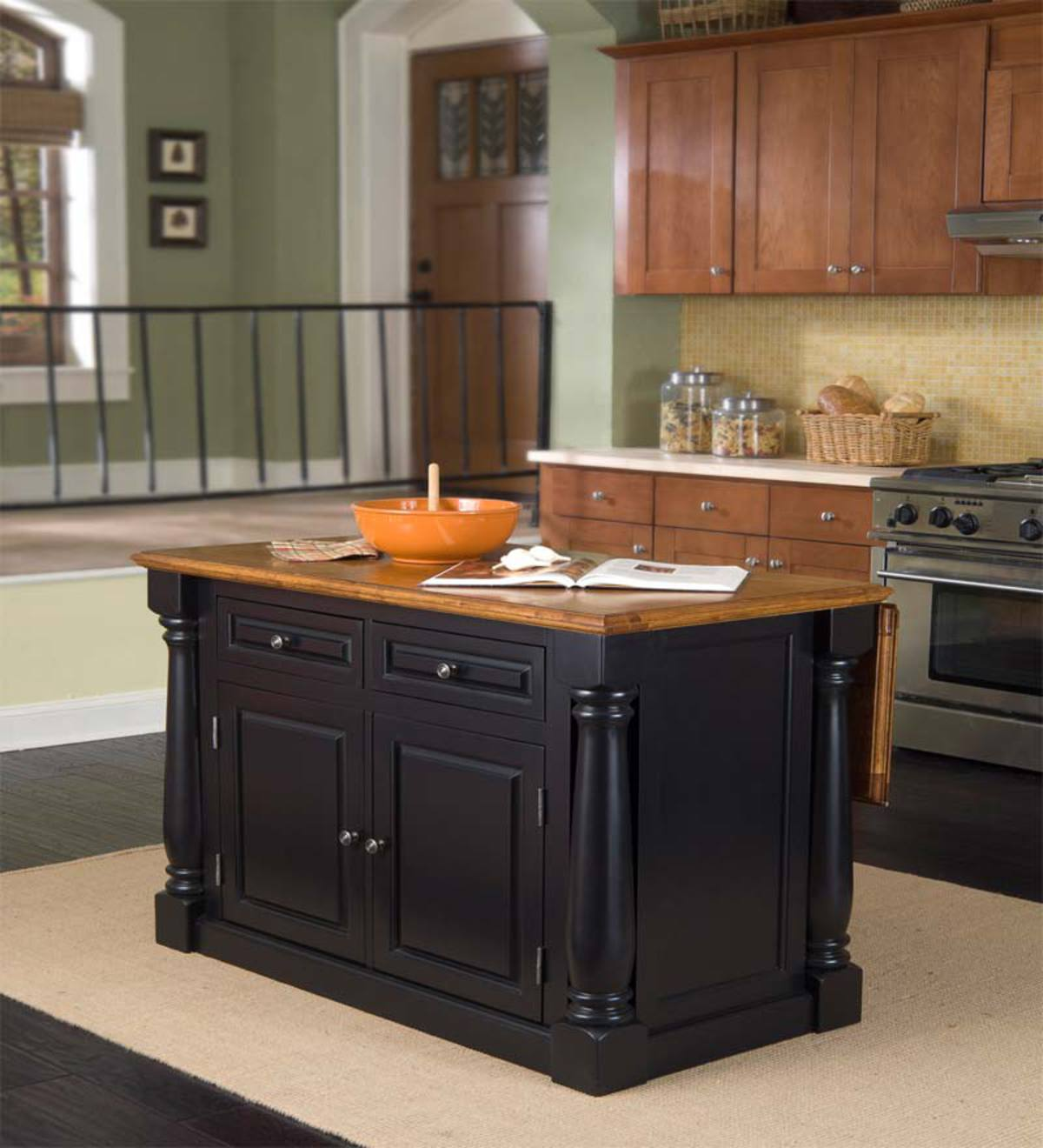 Kitchen Island In Black And Distressed Oak Veneer With