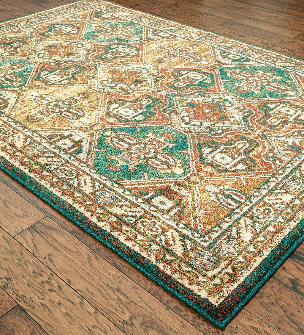 Daughton Teal Polypropylene Rug, 9' x 12'