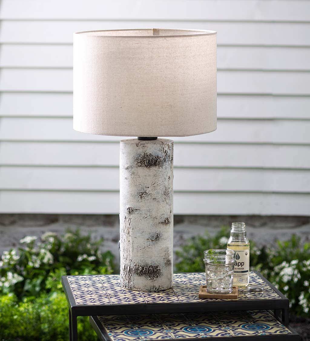 Faux Birch Wood Outdoor Table Lamp With Shade