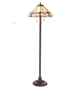 Handmade Stained Glass Gold and Ruby Diamond Floor Lamp