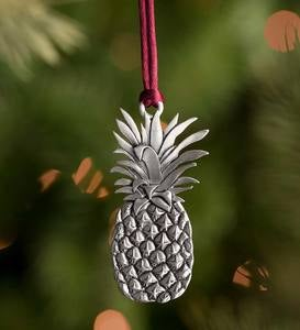 Solid Pewter Christmas Tree Ornament - Pineapple