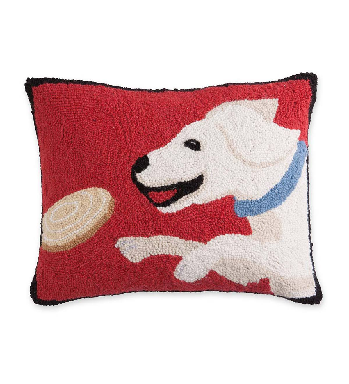 Hooked Wool Yellow Lab Throw Pillow