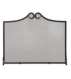 Wrought Iron Scrolled Arch Single Panel Fireplace Screen