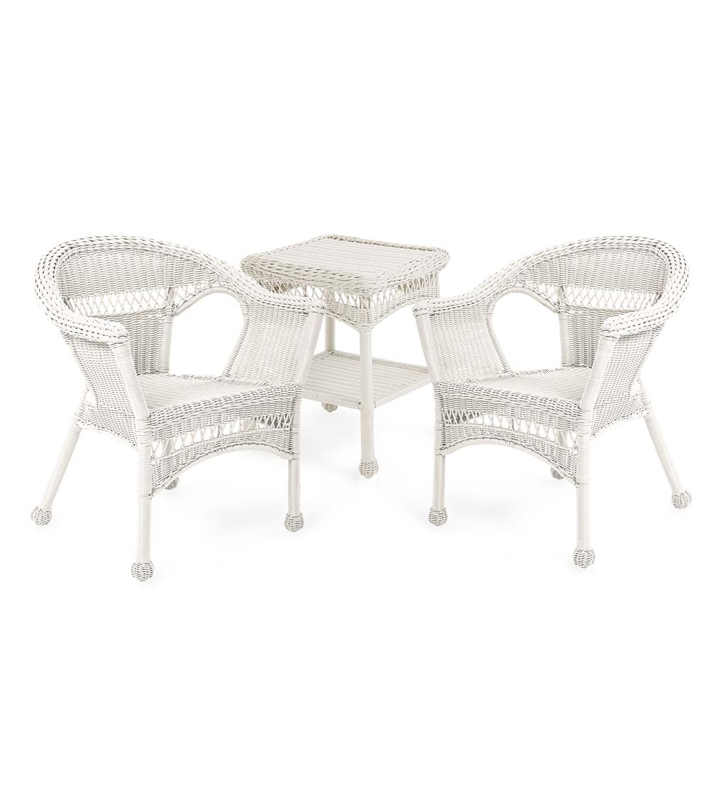 Easy Care Resin Wicker Furniture Set, Two Chairs and End Table