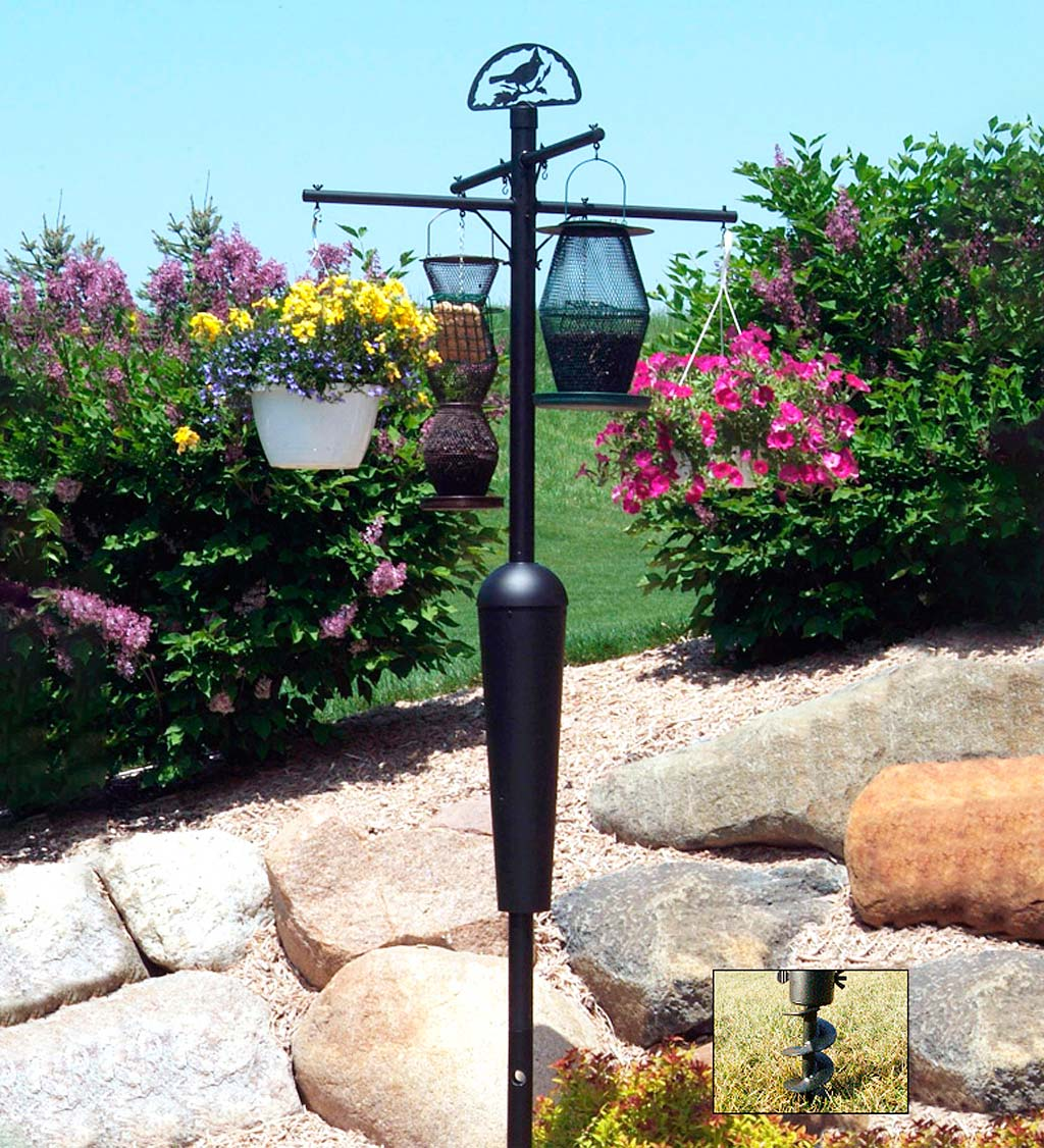 Weather-Resistant Squirrel Stopper Bird Feeder Display and Plant Stand