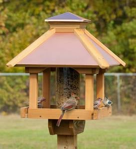 Red Cedar and Copper Gazebo Bird Feeder