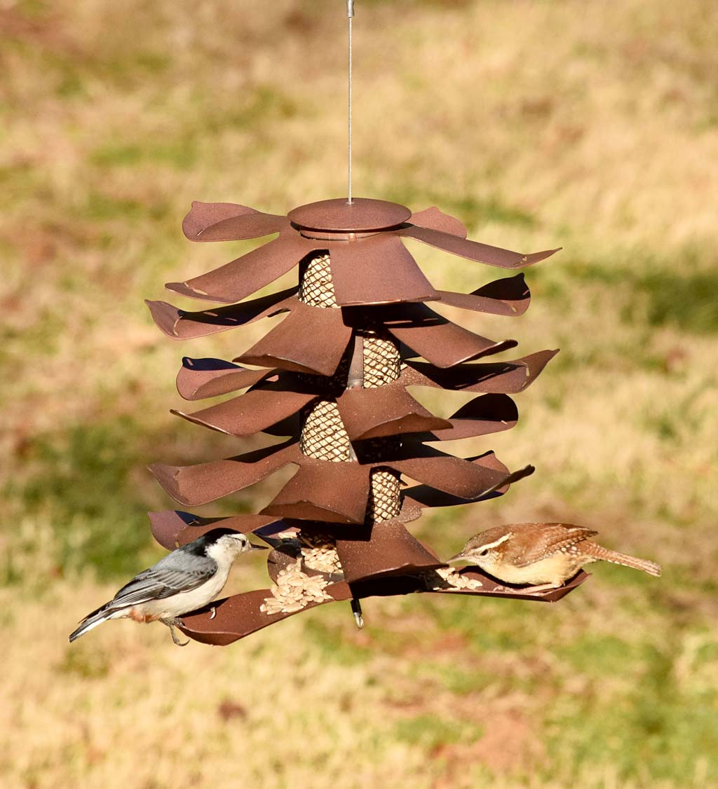 Metal Pine Cone Bird Feeder