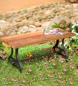 Birmingham Indoor/Outdoor Reclaimed Wood Bench With Iron Base