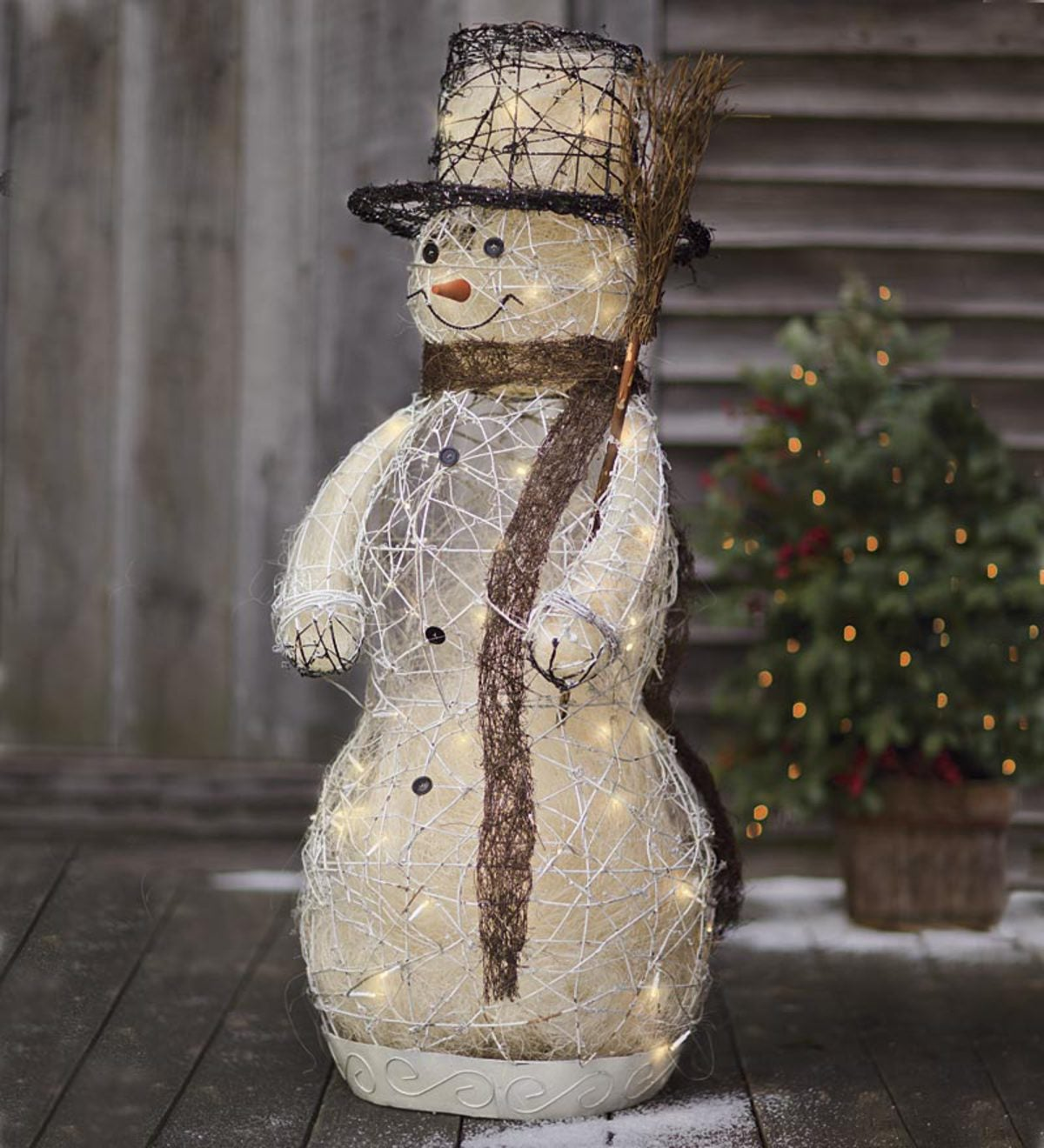 Rattan LED Snowman Holiday Decoration