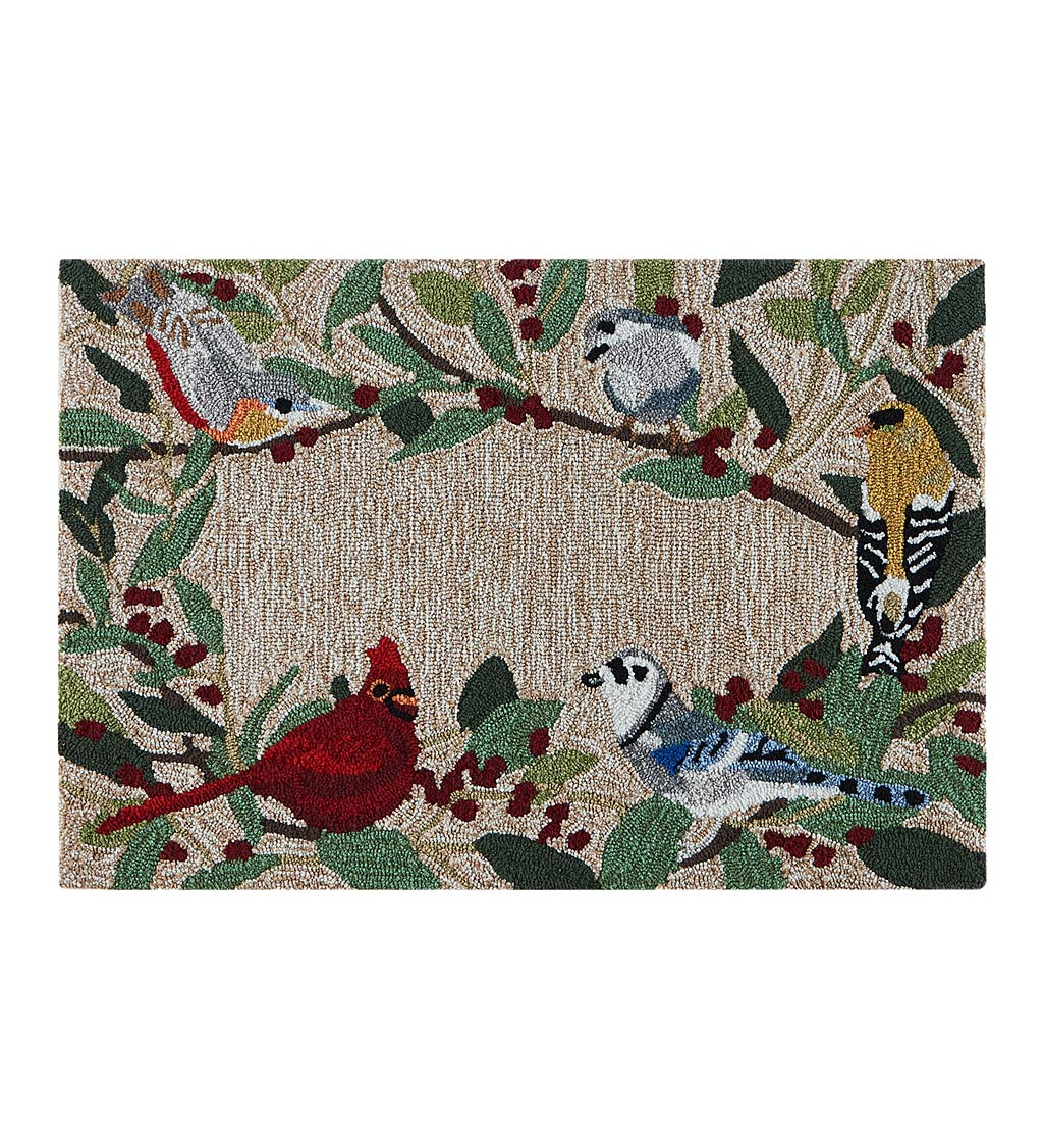 Indoor/Outdoor Synthetic Blend Birds Border Rug