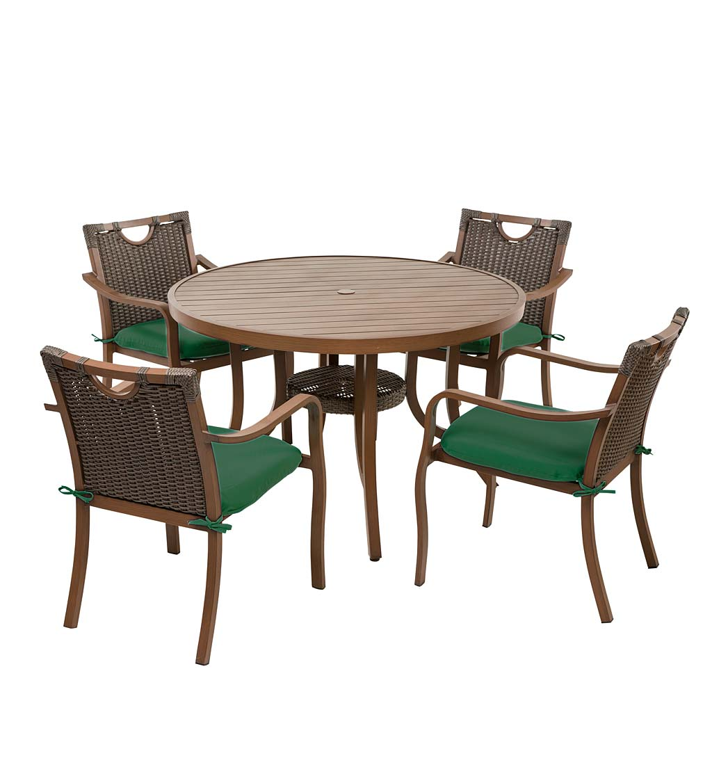 Urbanna Wicker Dining Table and Chairs Set with Cushions