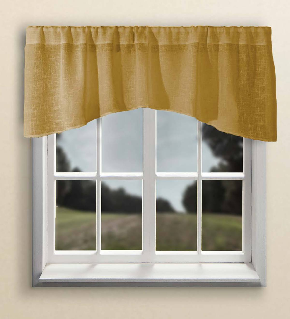Sheer Linen Crescent Valance with Rod Pocket - Toffee