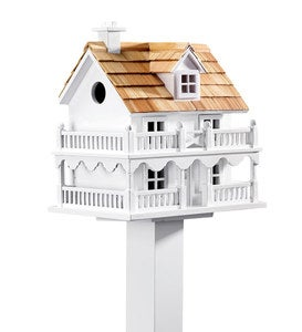 Wooden Cape Cod Birdhouse with Real Pine Shake Shingles and Pole Set