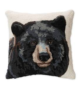 Hand-Hooked Wool Pillow with Bear