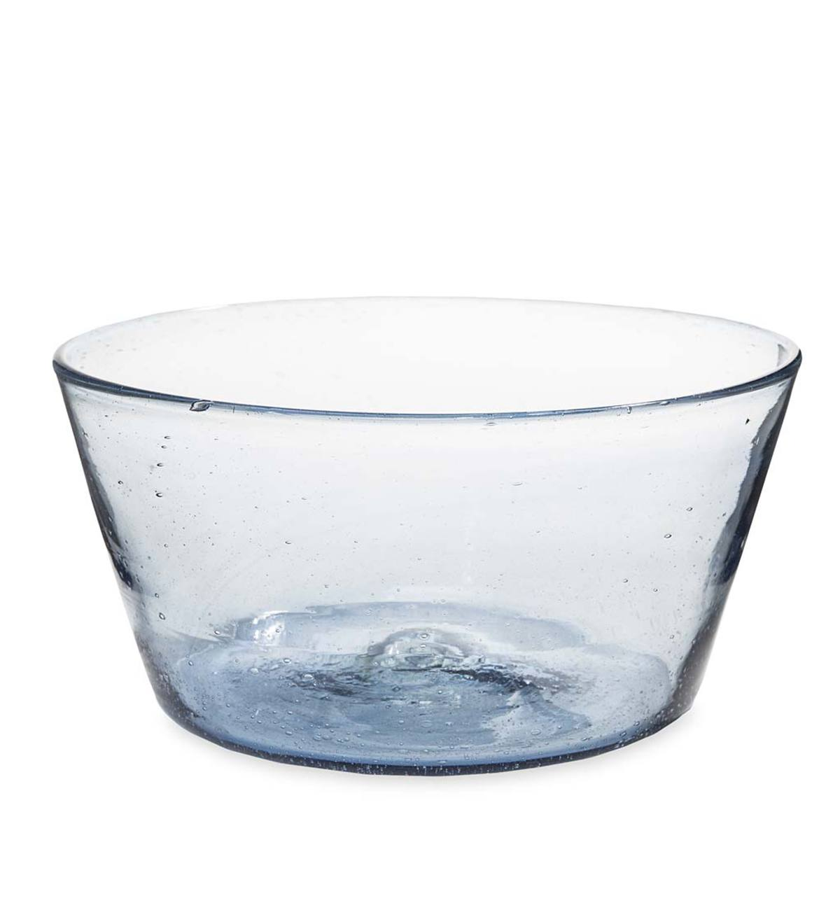 Bubble Recycled Glass Serving Bowl - Cobalt