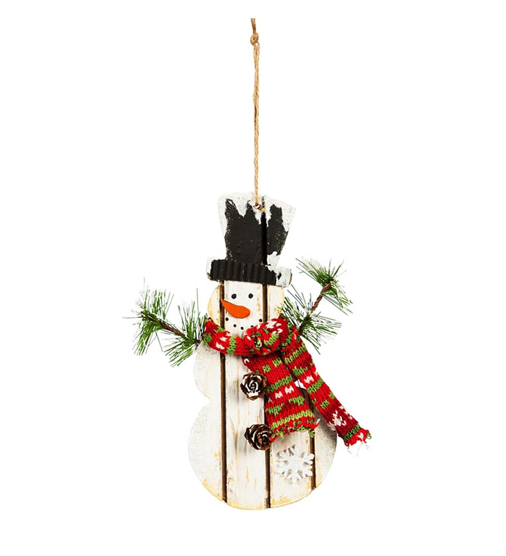 Wooden Snowman with Scarf Ornament