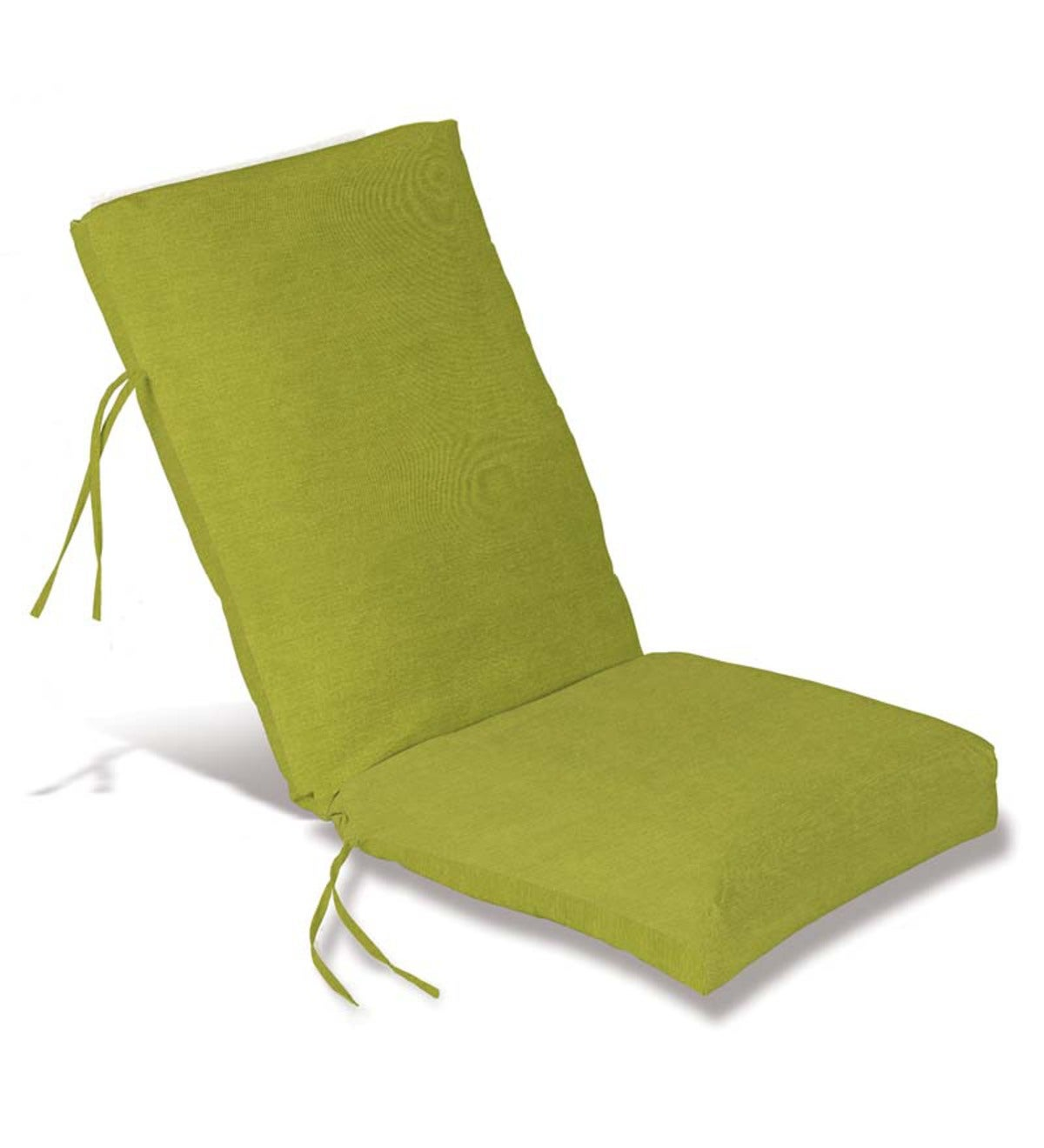 "Sale! Polyester Classic High Back Chair Cushion With Ties, 46""x 20""with hinge 19""from bottom - Lime Green"