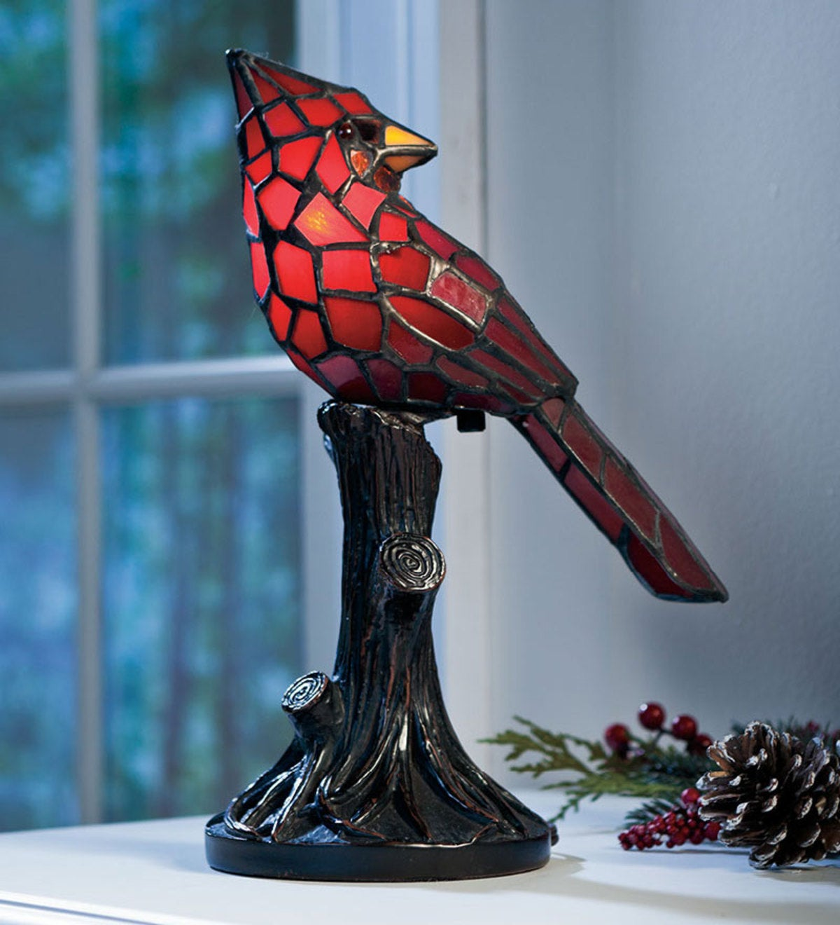 Tiffany-Style Stained Glass Cardinal Accent Lamp
