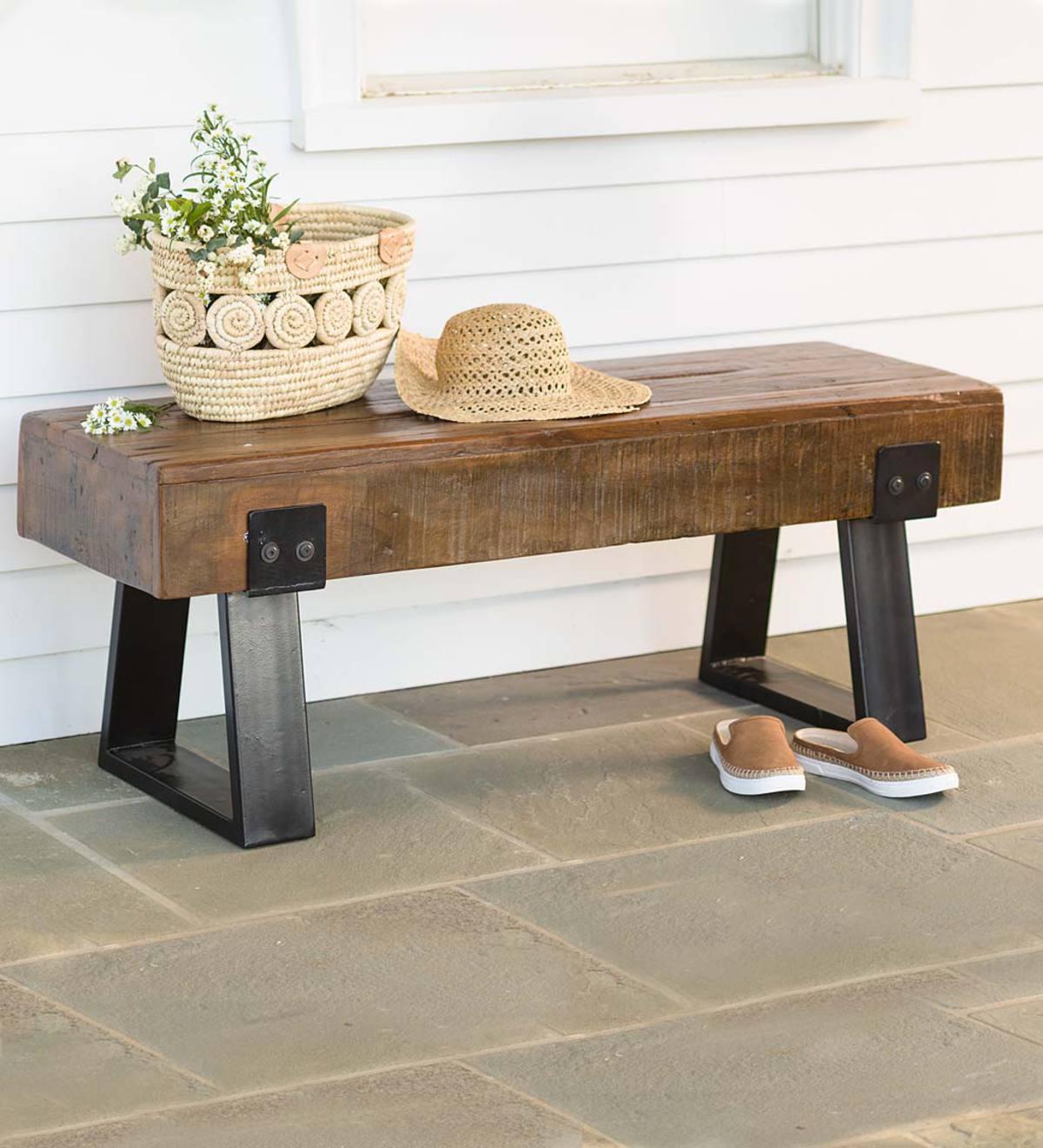Richland Indoor/Outdoor Reclaimed Wood Bench   Outdoor Furniture ...
