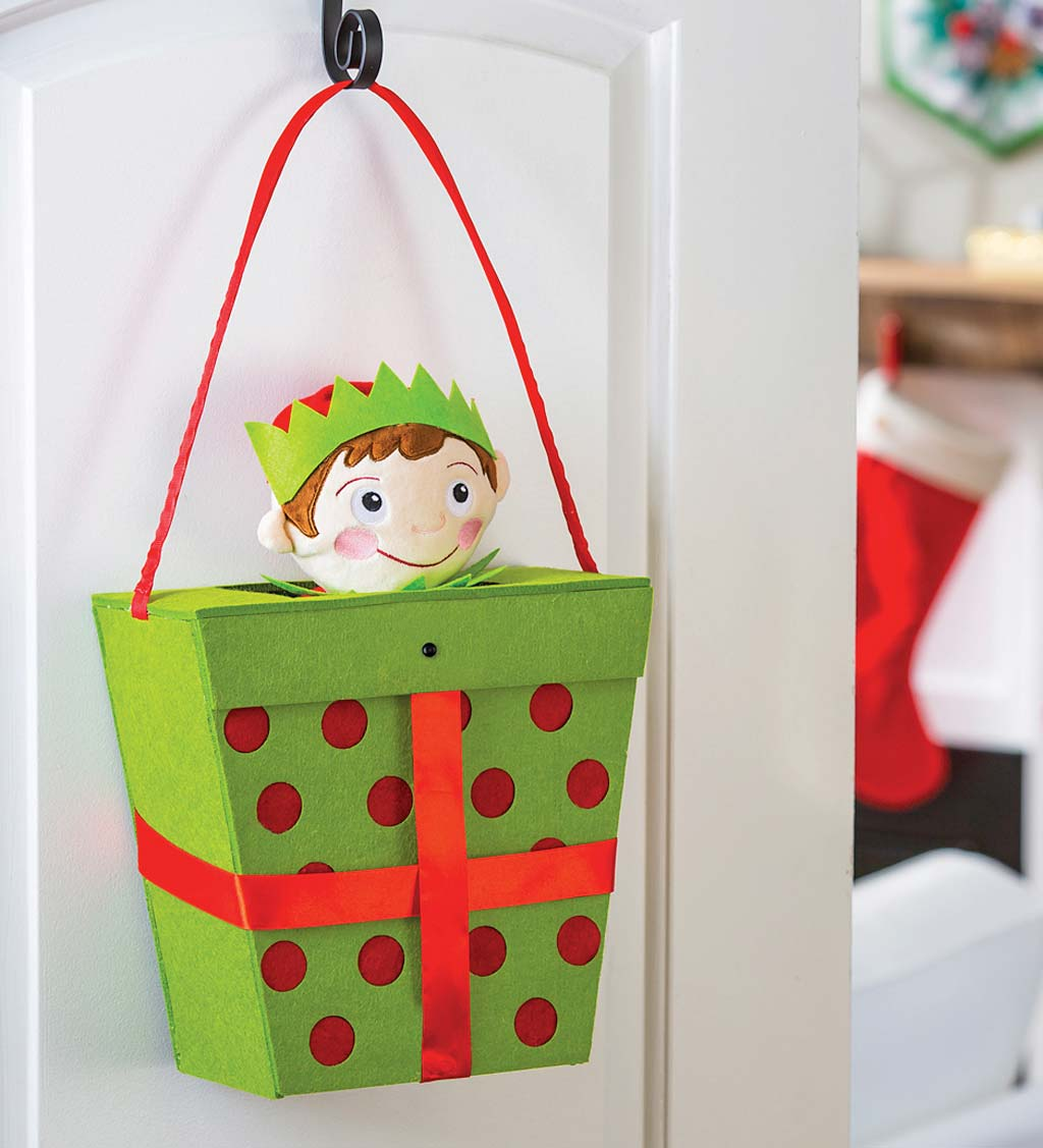 Elf In A Gift Box Motion-Activated Musical Door Décor