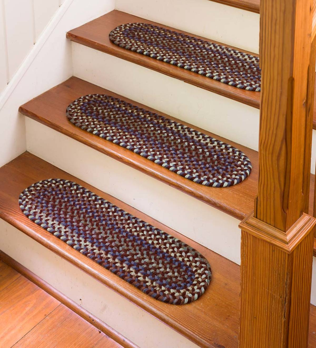"Blue Ridge Wool Oval Braided Stair Tread, 8"" x 28"""