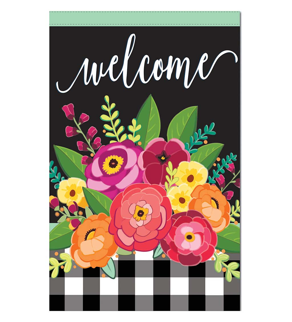Large Floral Linen Welcome House Flag