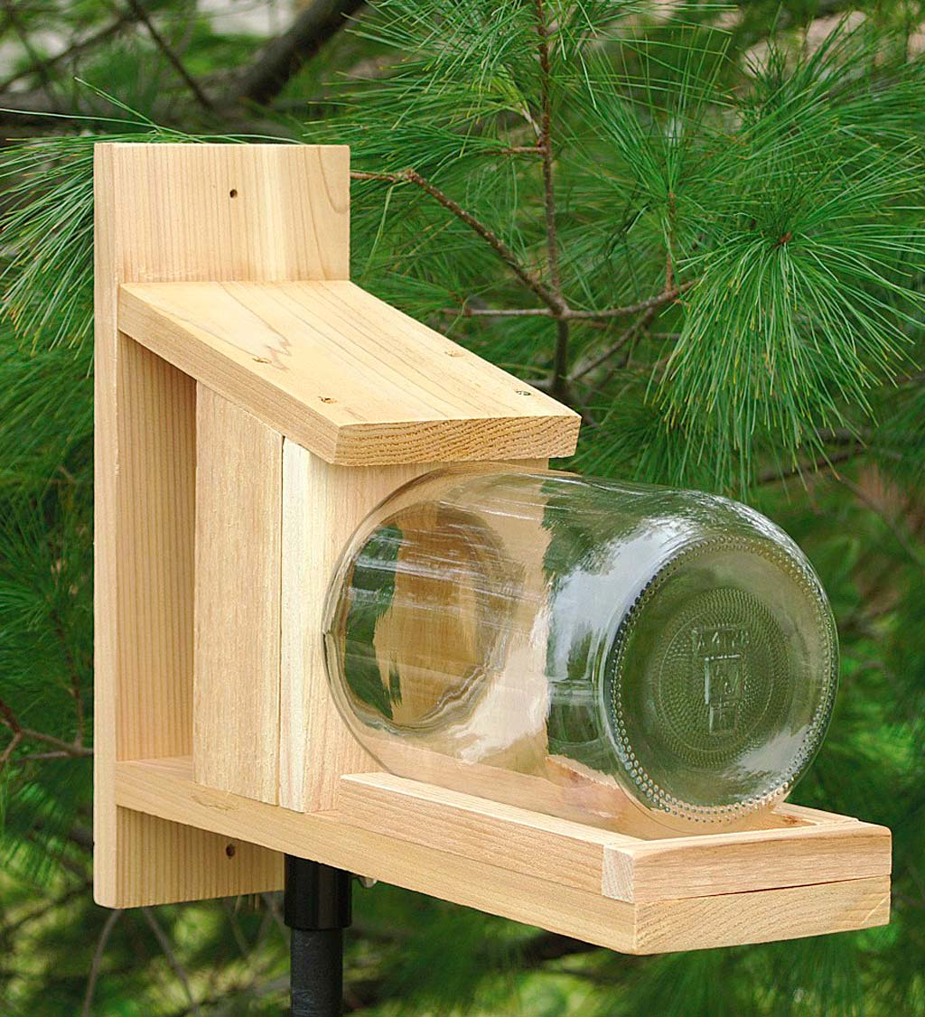 Wood and Glass Jar Squirrel Feeder