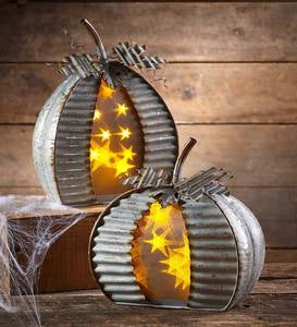 Lighted Galvanized Metal Pumpkin