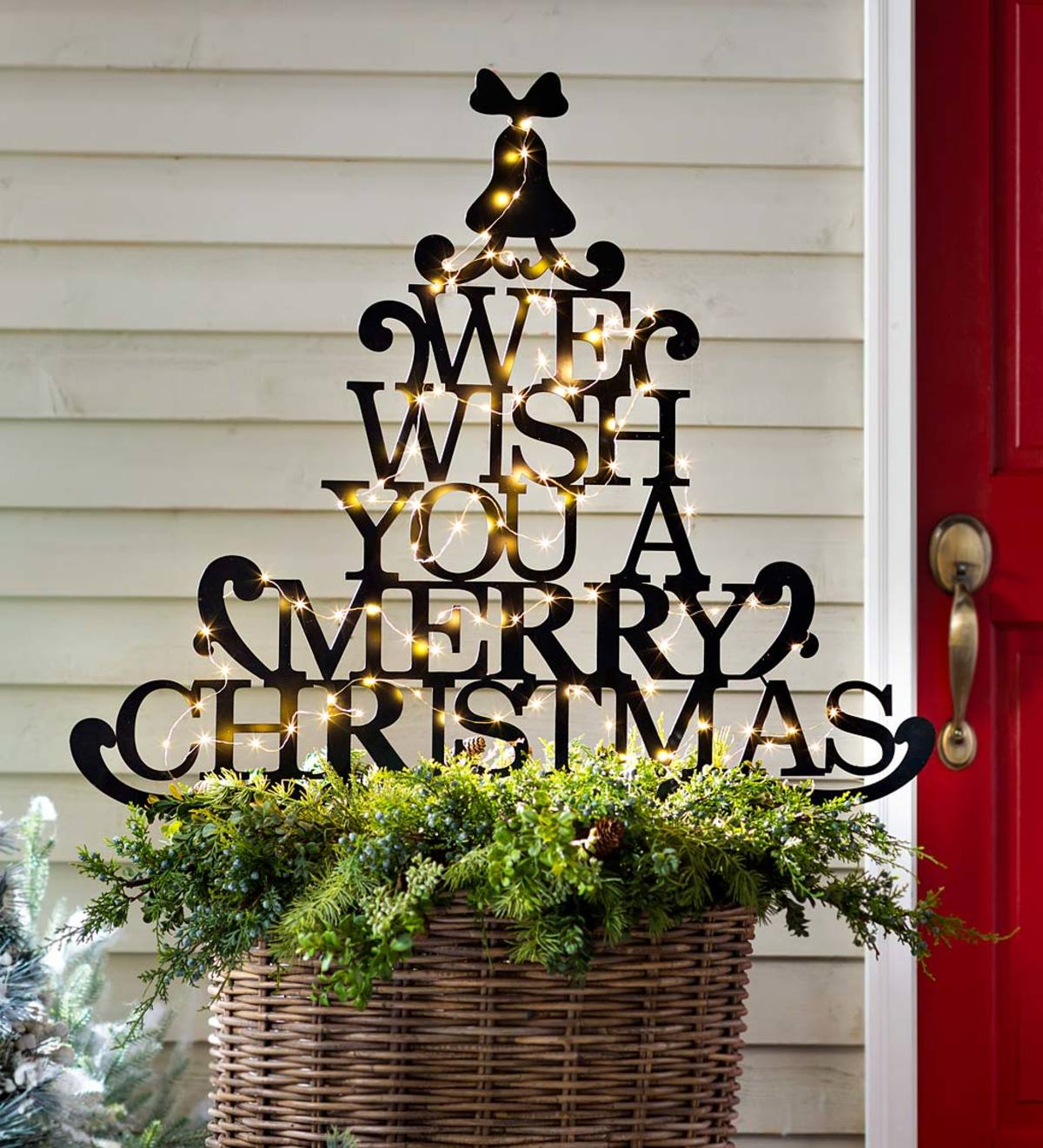 Merry Christmas Wishes Tree Metal Garden Stake Plowhearth