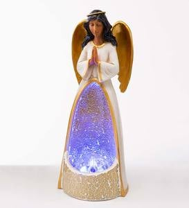 Lighted Color-Changing Glass Mosaic African American Angel Holiday Statue