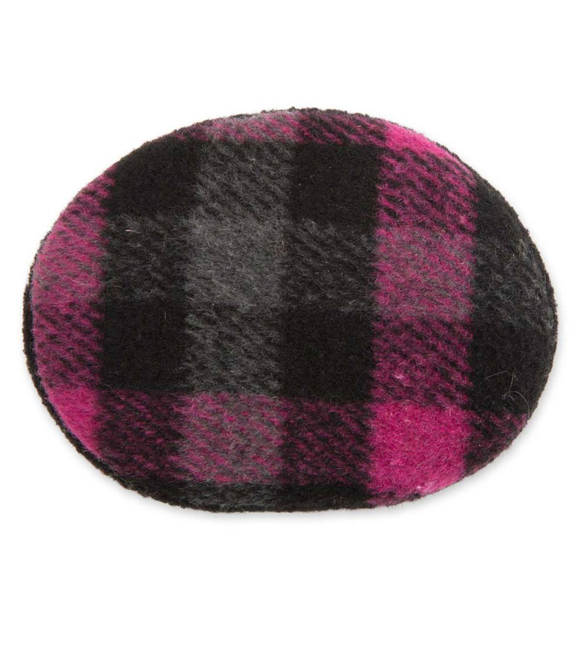 Lightweight Bandless Polyester-Fleece Earbags - Black/Pink Plaid - Large