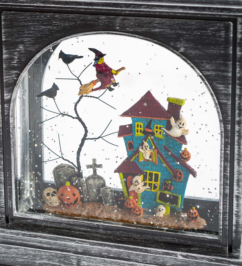 Lighted Halloween Lantern with Spooky Scene and Glitter