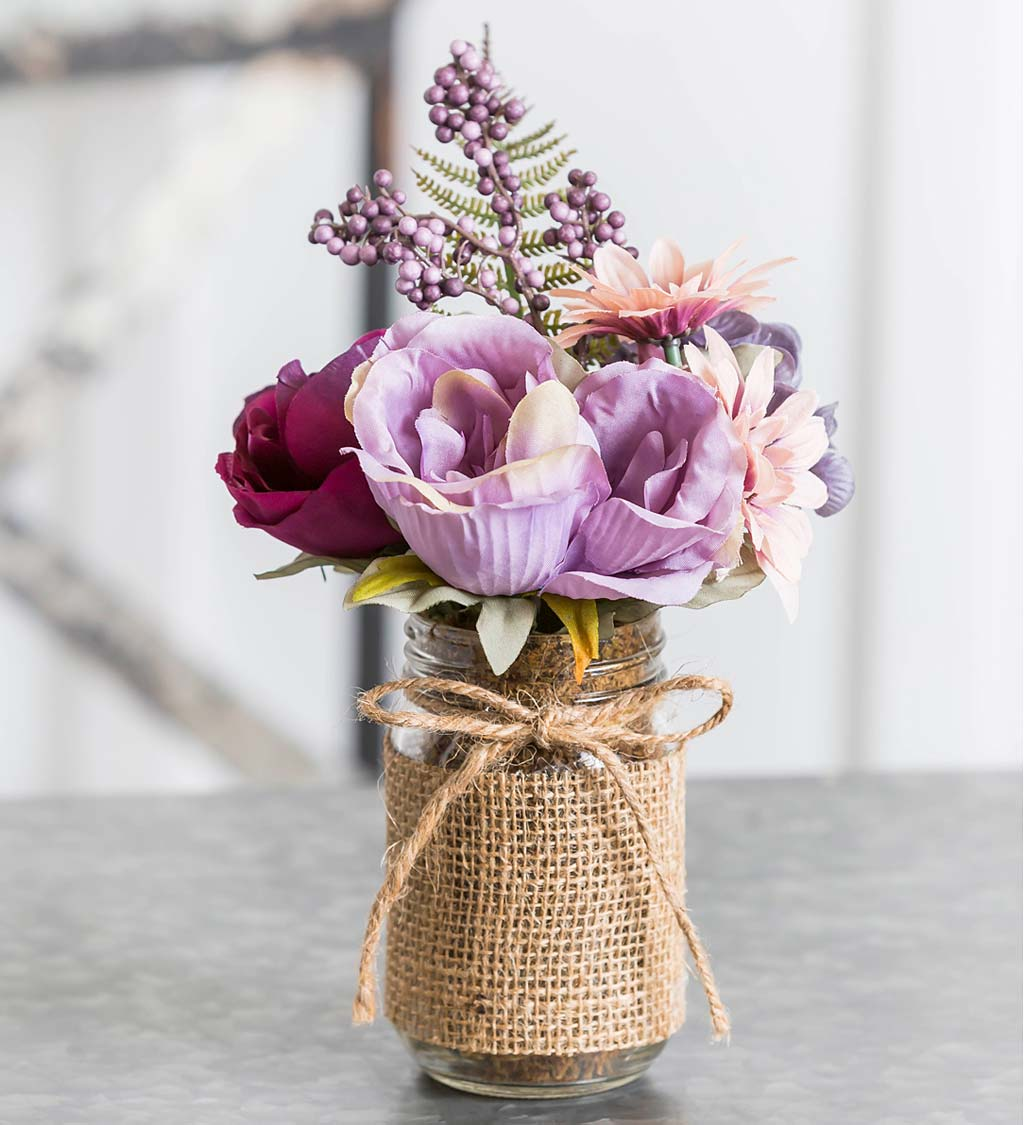 Vintage Rose and Purple Hydrangea Floral Arrangement