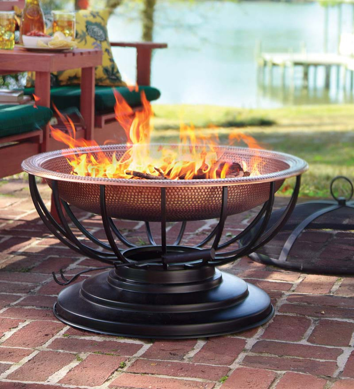 Hammered Copper Fire Pit With Lid Converts To Table Plowhearth