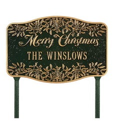 American-Made Personalized Merry Christmas Yard Sign In Cast Aluminum swatch image