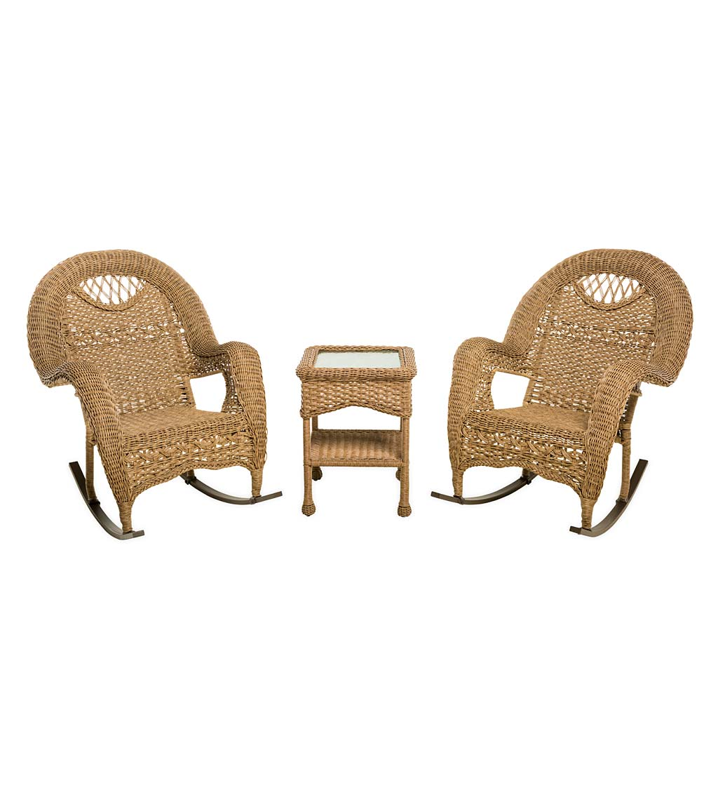 Prospect Hill Wicker Set of Two Rocking Chairs and End Table