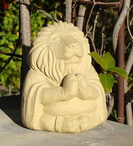 USA-Made Cast Stone Meditating Lion