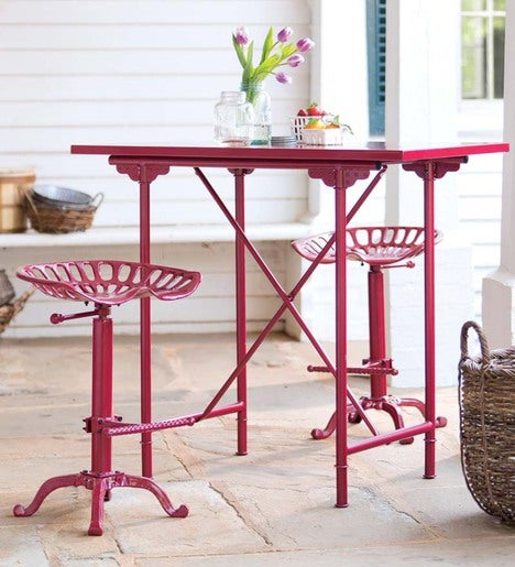 Farmhouse Set, Two Tractor Seat Stools and Bar Table