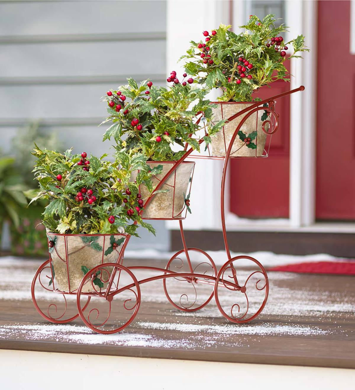 Three Tier Red Plant Stand with Holly Accents