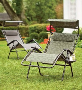 Deluxe Zero Gravity Chair With Awning, Table And Drink Holder - Leaf